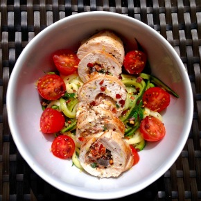 Chicken stuffed full of Mediterranean flavours with courgetti
