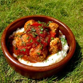 Moroccan spiced turkey meatballs with cauliflowermash