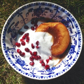 Baked spiced nectarines with vanilla yoghurt