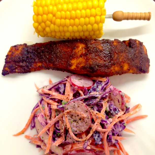 BBQ salmon and slaw