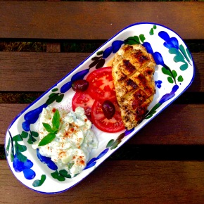 Grilled Greek chicken with tzatziki