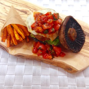 Portobello mushroom turkey burgers with salsa and sweet potato chips
