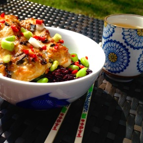 Miso cod with soy beans and black glutinous rice