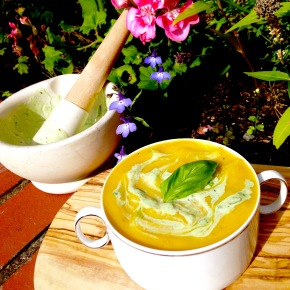 Butternut squash soup with basil infusedyoghurt