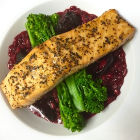 Beetroot barsotto with zesty salmon
