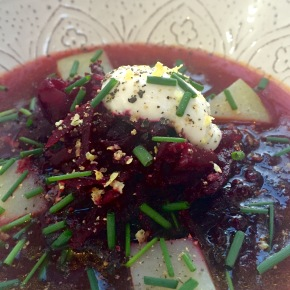 Borscht (beetroot soup) with horseradish yoghurt