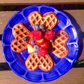Oaty carob waffles