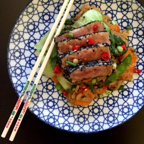 "Seared black sesame tuna steak with quinoa fried ""rice"""