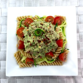 Creamy avocado basil tuna pasta and courgetti