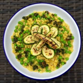 Saffron barsotto with green vegetables and pesto (plus a secret ingredient)