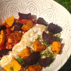 Harissa root vegetables with cauliflower rice and creamy tahini