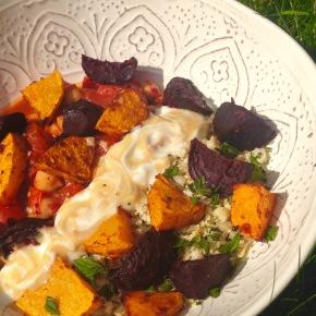Harissa root vegetables with cauliflower rice and creamytahini
