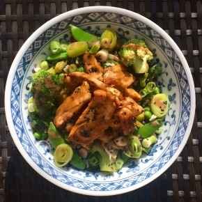Chilli chicken thigh with  greens, brown rice and miso tahini dressing