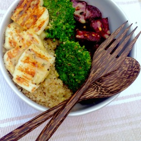 Roasted beets, broccoli, halloumi and quinoa with a sweet mustard dressing